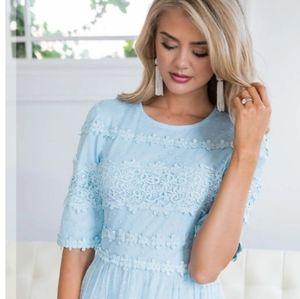 Just Me Marcela Baby Blue Lace Dress